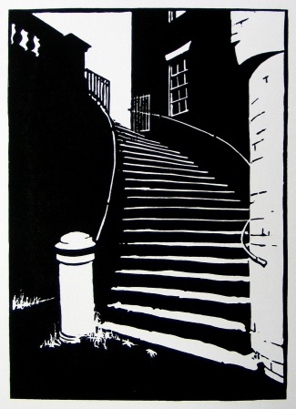 English Bridge Steps, Shrewsbury. Linocut. 200mm x 275mm March 2018