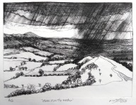 Storm Over the Wrekin Etching March 2018